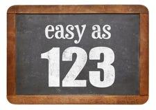 Łatwy jako 123 blackboard znak obrazy stock