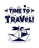 łatwy redaguje ikonę target2112_0_ Szczęśliwy mężczyzna podróżuje papierową łodzią royalty ilustracja