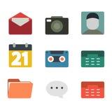 łatwy redaguje ikony medialne Płaski projekt Fotografia Stock