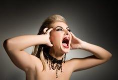 łaty krzycząca kobieta Fotografia Stock