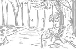Ławka, światła, drzewa w parku, rysuje graficznego projekt Obrazy Stock