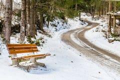ławka blisko brud ścieżki przez śniegu Fotografia Stock