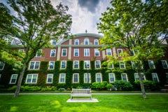 Ławka i ceglany dom przy Harvard Business szkołą w Boston, Obrazy Royalty Free
