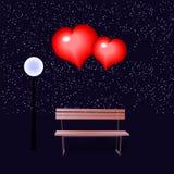 Ławka i kochający serca Ilustracja dla walentynki ` s dnia Obrazy Stock