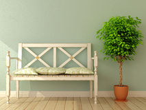 Ławka i roślina Obraz Stock