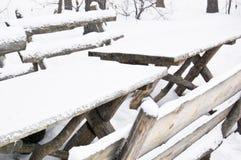 Ławka i stół w zimie Fotografia Stock