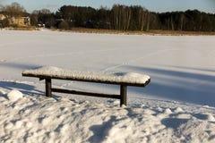 ławka objęta parku śniegu zimy sceny śnieg Zdjęcia Royalty Free