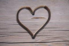 ławka rzeźbiący serce Obraz Royalty Free
