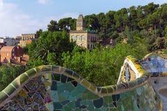 Ławka wąż. Barcelona punkt zwrotny, Hiszpania. Obrazy Royalty Free