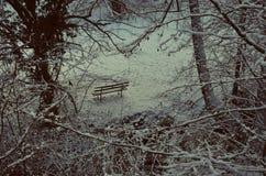 Ławka w śniegu Obrazy Royalty Free