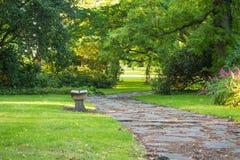 Ławka w zieleń parku z wyginającymi się drzewami i drogą przemian Obrazy Stock