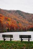 Ławki i jesień barwią przy Sherando jeziorem, blisko Błękitnego grani Parkway w George Washington lesie państwowym, Virginia obrazy royalty free