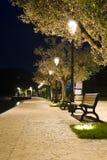 Ławki na bruku w świetle lampionu Fotografia Royalty Free