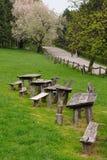ławki parkują drewnianego zdjęcie royalty free