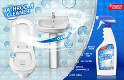 Łazienka czyścicieli reklamy plakat, kiści butelki mockup z ciekłego mydła detergentem dla łazienka zlew i toaleta z bąblami, zdjęcie stock