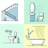 Łazienka elementu toaletowy drabinowy wewnętrzny salowy futerko royalty ilustracja