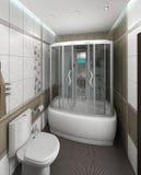 Łazienka minimalisty stylu wewnętrzny projekt, odpłaca się 3D Zdjęcia Stock