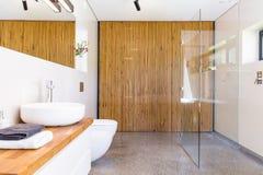 Łazienka z drewnianym divider pomysłem obrazy stock