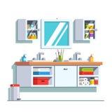 Łazienka z dwoistym zlew, bezcelowością i ściany lustrem, Obrazy Stock