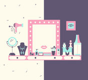 łazienki opatrunku lustra stół Fotografia Royalty Free