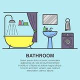 Łazienki wewnętrzna ilustracja robić w kreskowej sztuki stylu z wanną, zlew, toaletowi udostępnienia, płuczki maszyna, ręczniki i Zdjęcia Stock