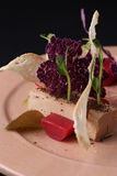 Łeb z kumberlandem, grzanką, galaretą i arugula na talerzu, zbliżenie Czarny tło Cząsteczkowa kuchnia Zdjęcie Royalty Free