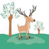 Łoś amerykański zwierzęca karykatura w lasu krajobrazu tle Fotografia Royalty Free