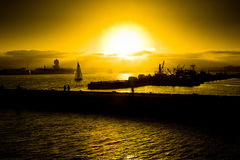 łodzi Diego San zmierzch zdjęcie royalty free