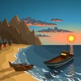 łodzi połowów na plaży Zdjęcia Stock
