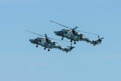 Łodzi podwodnej i wysyłki helikopter - AgustaWestland AW159 żbik Zdjęcia Royalty Free