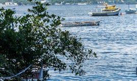 Łodzi łodzi rybackich rybaków słonecznego dnia morze, halny Błękitny denny morze i drzewa Obraz Stock