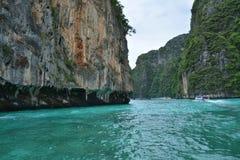 łodzi wyspy krajobrazu magiczny phi wschód słońca tajlandzki Thailand Zdjęcie Stock