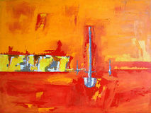 łodzi zatoczki krajobrazu ocean malujący niebo Obrazy Royalty Free