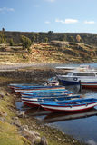 łodzie Amantani wyspa w Jeziornym Titicaca, Puno, Peru Obraz Royalty Free