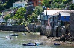 Łodzie i drabiny przy Niskim przypływem, Dartmouth, Devon fotografia stock