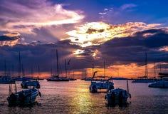 Łodzie i gul w pięknym spokojnym zmierzchu przy karaibską plażą Zdjęcie Royalty Free