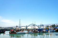 Łodzie i most obraz stock