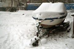 Łodzie na śniegu Zdjęcia Royalty Free