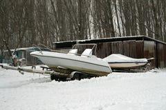 Łodzie na śniegu Obrazy Royalty Free