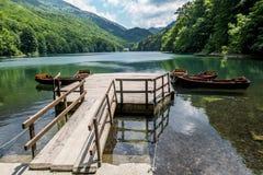 Łodzie na Biogradska jeziorze w parku narodowym Biogradska Gora obrazy stock