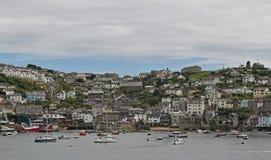 Łodzie na Fowey rzece Cornwall zdjęcie stock