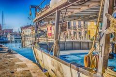 łodzie na Włoskim kanału porcie Obrazy Stock