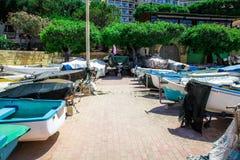 Łodzie parkować w Sliema, Malta zdjęcia royalty free