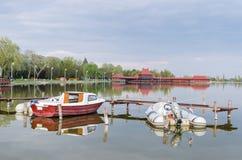 Łodzie przy jeziornym Palic Fotografia Royalty Free