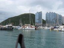 Łodzie przy marina w Aberdeen, Hong Kong zdjęcie stock
