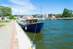 Łodzie przy Vistula laguną, Polska Zdjęcie Royalty Free