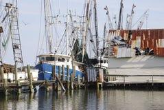 Łodzie Rybackie cumowali przy schronieniem przy Amelia wyspą, Floryda Fotografia Royalty Free