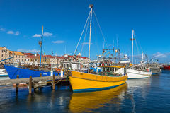 Łodzie Rybackie dokować przy jetty, Hobart obraz royalty free