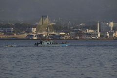Łodzie rybackie Iść morze w Miastowym położeniu Manado Obraz Royalty Free