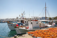 Łodzie Rybackie przy, Naoussa, Paros, Grecja fotografia royalty free